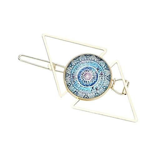 Vrouwen meisjes geometrische driehoekige haarspelden Boheemse patroon tijd edelsteen sieraden haarspelden klemmen verguld ruit 5