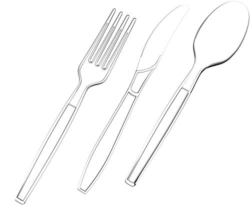 400 Piece Heavy Duty Clear plastic cutlery 190 Plastic Forks, 140 Plastic Spoons, 70 Plastic Knives Clear Plastic Cutlery Utensil Set Disposable Clear Forks, Clear Plastic Spoons, Clear Plastic Knives