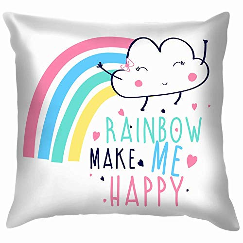 Double Cheese Rainbow Make Me Happy Slogan Hand The Arts Throw Pillows Covers Accent Home Sofá Funda de cojín Funda de Almohada
