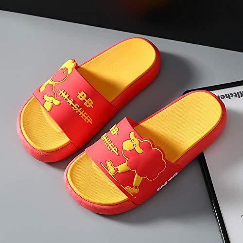 XZDNYDHGX NiñO NiñA Playa Zapatillas Sandalias Rojo, Sandalias de Dibujos Animados Bonitos para Interior Antideslizantes hogar para Parejas, Zapatillas de Verano UE 38-39