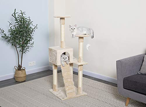 Go Pet Club Cat Tree Furniture Beige, 3 Levels (F56)