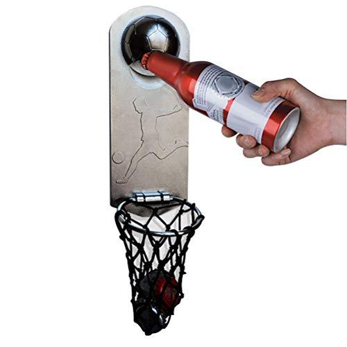 CJMING Apribottiglie per Birra, Apribottiglie a Parete per Basket con Apribottiglie Magnetico, di Sicurezza in Metallo per Bar Ristoranti Famiglie Frigo, Utensili da Cucina
