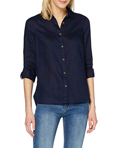 find. Camisa de Lino de Manga Larga Mujer, azul (marino), 48, Label: 3XL