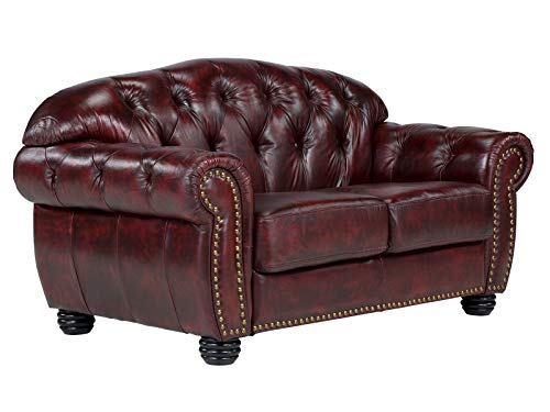 Woodkings® Chesterfield Hereford Sofa 2-Sitzer Echtleder Couch Bürosofa Polstermöbel 2er antik Unikat Herrenzimmer englisches Ledersofa Stilsofa Clubsofa (antik rot)