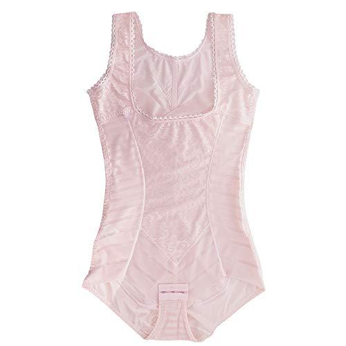 CARNIVAL Faja De compresión y Corte Tipo Body, con Detalles de Transparencia y Encaje en Flores. Modelo 3204 - Color Rosa Talla Chica