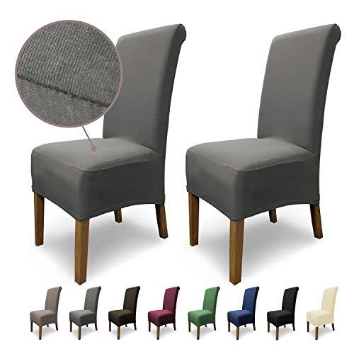 SCHEFFLER-Home Stretch Stuhlhusse Emma   2er Set elastische Stuhlabdeckungen aus Baumwolle   Stuhlhussen Schwingstühle   Spannbezug mit Gummiband   Elegante Stuhlbezüge