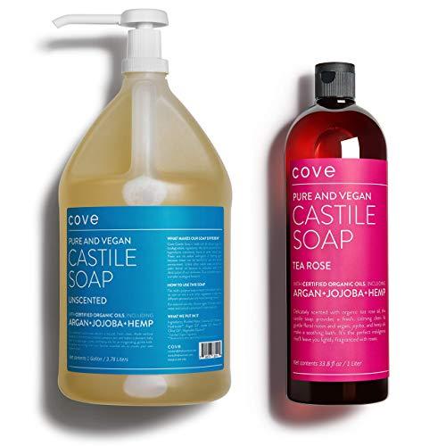 Cove Castile Soap - 1 Gallon Unscented + 1 Liter Tea Rose Bundle -...