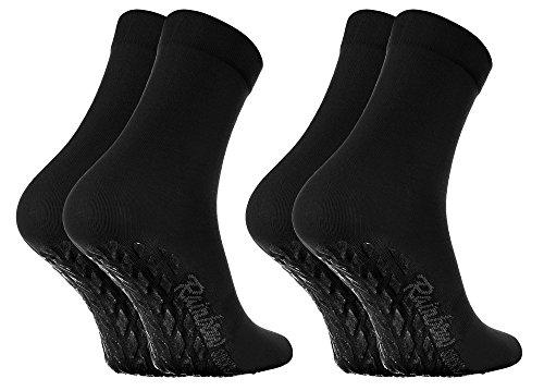 Rainbow Socks - Damen Herren Bunte Baumwolle Antirutsch Socken ABS - 2 Paar - Schwarz - Größen 39-41
