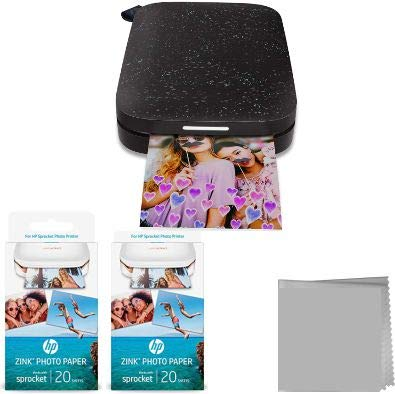HP Sprocket Portable Photo Printer (2nd Edition) Bundle (Black) + 50 Prints
