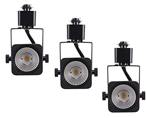 Cloudy Bay 8W Dimmable LED Track Lights Head,CRI 90+ Day Light 5000K,Adjustable Tilt Angle Track Lighting Fixture,40° Angle for Accent Retail,Black Finish,Halo Type - 3 Pack
