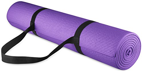 BalanceFrom GoYoga All Purpose High Density Non-Slip Exercise Yoga Mat with Carrying Strap, 1/4', Purple