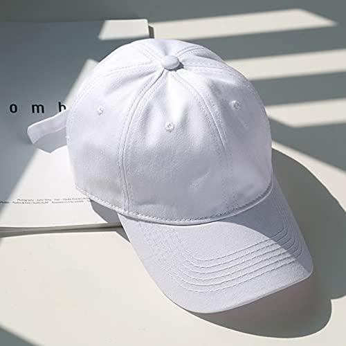 Gorra de béisbol de algodón para Hombres y Mujeres Sombreros Snapback de Color sólido Gorras de Verano para el Sol Sombrero de papá Informal Gorra Unisex-White-Adjustable