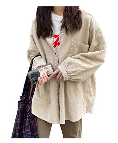 CYSTYLE Retro Vintage Damen Cord Hemd Cordjacke Freizeit Jacken Oberteile Casual Langarm Outwear (Beige, One Size)