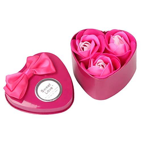 Xiton 1 paquet Rose Eternelle Savon Pétales de Rose Parfumée Savons de Bain Rose en Boîte Savon Fait Main Savons Boîte de Cadeau pour Mariage Anniversaire Saint Valentin fête des Mères (Rose rouge)