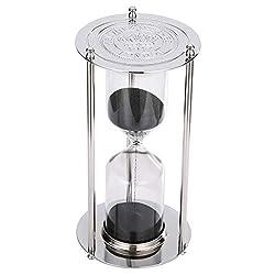 SuLiao Hourglass 60 Minutes, Vintage Black Sand Timer, Metal Silver Sand Clock, Large Sand Watch 60 Min, Unique Antique 1 Hour Glass Sandglass for Home, Office, Desk Decorative