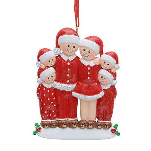 MAXORA Christmas Pajama Family of 6 Personalized Ornament 2020 Personalized Quarantined Gift for Tree Decorations