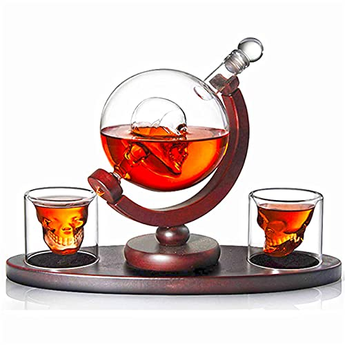 GYN Set Decantador de Calavera,Botella Whisky Cristal Tierra Reutilizable,Botella de Vidrio Transparente,Decantadores de Vino para Decoración y Grandes Regalos,A