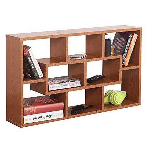 RICOO WM050-ER Estantería Pared 85x48x16cm Estante Colgante Librería Flotante Mueble almacenaje Almacenamiento Libros Madera Roble rústico