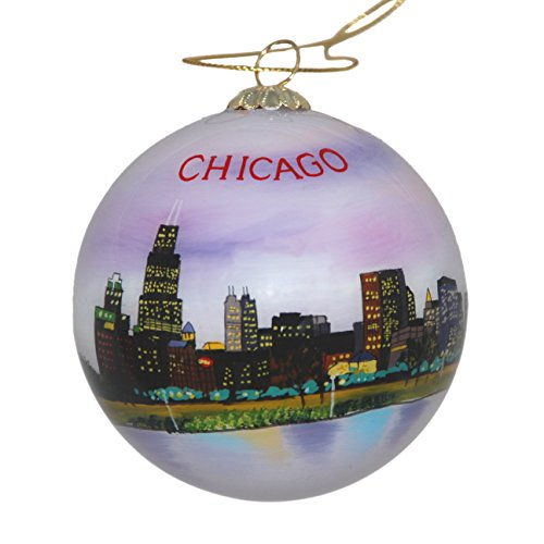 Hand Painted Glass Christmas Ornament - Chicago, Illinois Skyline Night