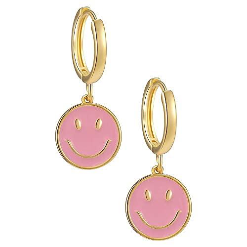 XiaoYing Dames sieraden vrouwen partij geschenk koperen smiley gezicht oorbellen punk stijl hanger oorbellen (Kleur: B…