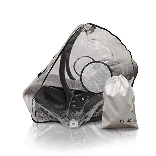 Inusia - Universal-Regenschutz für Babyschale, wasserdicht, für den Außenbereich, transparent, Gruppe 0 und 0+, PVC-frei, mit großem Kontaktfenster, Löcher für einfache Installation