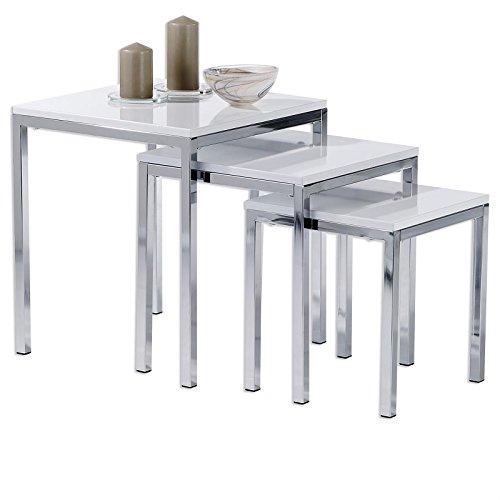 IDIMEX Tischset Luna Dreisatztische Beistelltisch Tische mit Platte aus MDF weiß, Fußgestell verchromt