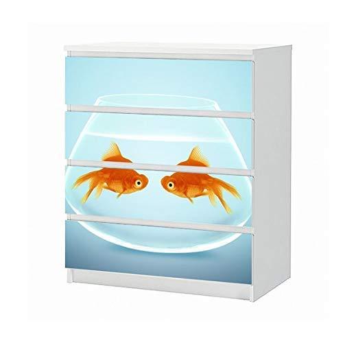 Set Möbelaufkleber für Ikea Kommode MALM 4 Fächer/Schubladen Fische Fisch Paar Goldfisch Aquarium Liebe Tiere Aufkleber Möbelfolie sticker (Ohne Möbel) Folie 25B1222