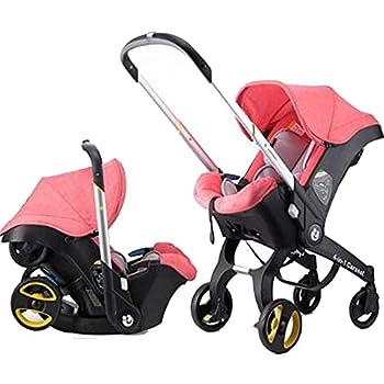 Foldable All-in-1 Stroller Folding Umbrella Stroller Car Seat Babies Sleeping Basket Aluminum Alloy Lightweight Stroller Waterproof Rain Wind Cover  Pink