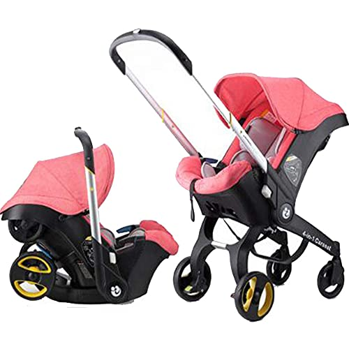 Foldable All-in-1 Stroller Folding Umbrella Stroller Car Seat Babies Sleeping Basket Aluminum Alloy Lightweight Stroller Waterproof Rain Wind Cover (Pink)
