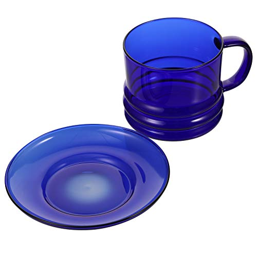 NUOBESTY Glass Coffee Cup with Saucer Borosilicate Beverage Mugs for Cappuccino Espresso Tea Coffee Milk Drinkware Set (Blue)