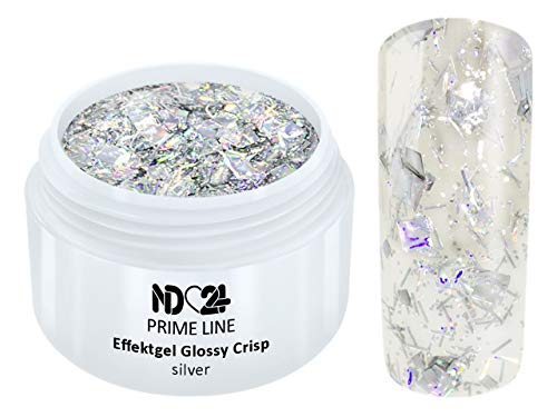 5ML - PRIME LINE - UV LED GEL CRISP Effekt SILVER Glitzer Farb Color Nail Art Modellage Nail Silber - MADE IN GERMANY