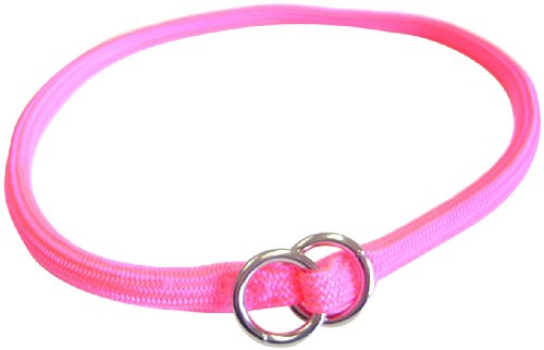 Hamilton 830 HP 5/16-Inch by 22-Inch Round Braided Choke Nylon Dog Collar, Hot Pink