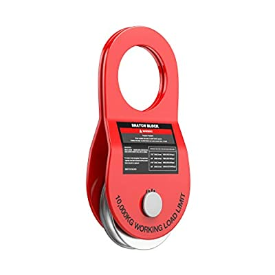 Ayleid Recovery Winch Snatch Block Towing Pulley Blocks 22,000 LB. 10T Capacity Off-Road Recovery Accessory for Truck, Tractor, ATV & UTV (Red)