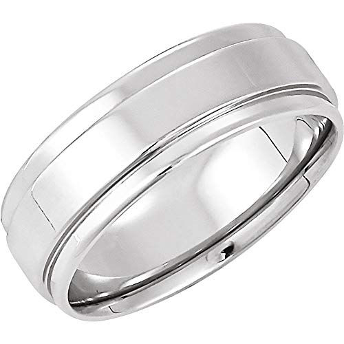 14ct White Gold 7.5mm Flat Edge Comfort Fit Bridal Wedding Band Ring, Size O 1/2