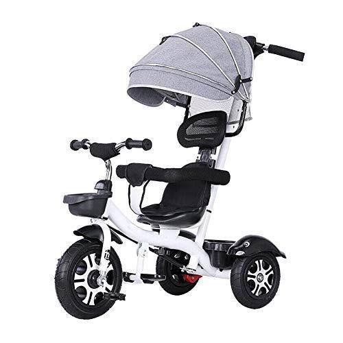 Silla de paseo para bebé, multifunción, triciclo de dos vías, asiento giratorio de seguridad ajustable, 4 opciones de color (color: gris)