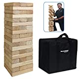 54Piece Large Wood Block Stack & Tumble Tower Toppling Blocks Game– Great for Game Nights for Kids, Adults & Family –Storage Bag