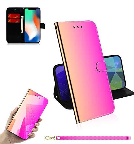 iPhone X/XS Reflektor-Schutzhülle, mit kratzfestem, halbdurchsichtigem Spiegel, Rückseite aus rutschfestem PU-Leder, kompatibel mit Apple iPhone XS, Rose