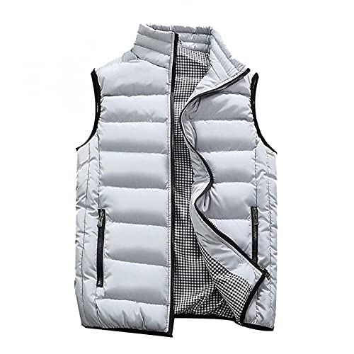 XUNFUN Puffer Vest Jacket Men Full Zip Stand Collar Quilted Lightweight Water-Resistant Packable Padded Gilets Warm Coats(Grey,XX-Large)