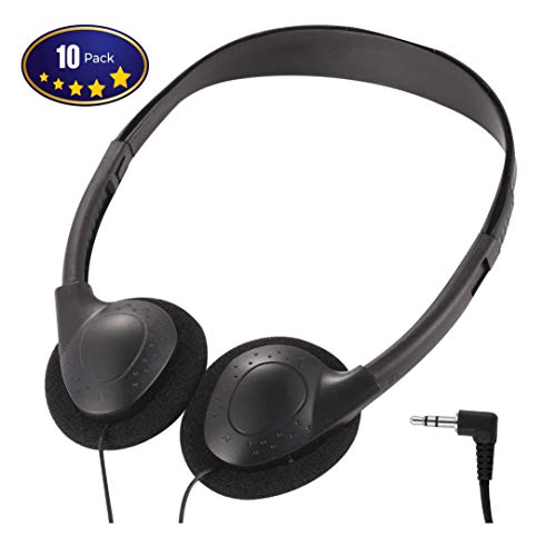 Deal Maniac Wholesale Over-Ear Headphones - Low-Cost Bulk Stereo Headphones for Students, Classroom, Library - 10 Pack Black Headphones