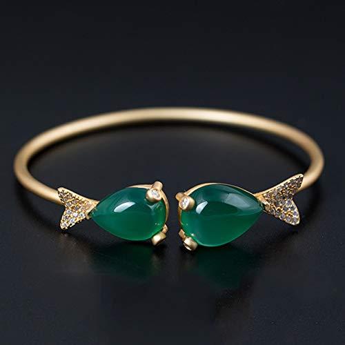 GZMUS Feng Shui Riqueza Pulsera Brazalete S925 Verde Calcedonia Pulsera De Jade Pulsera De Piscis Atraen Suerte Regalo para Hombre Mujer Pareja Mejor Amigo,925 Silver