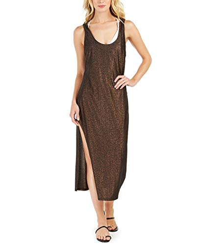 Kenneth Cole New York Women's Standard Asymmetrical Tank Dress Swimsuit Cover Up, Black//Day Glow, S