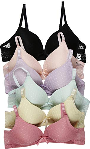 ToBeInStyle Girl's Junior Pack of 6 Wire-Free Padded A Cup Bras with Adjustable Straps Color - Assorted - 28A