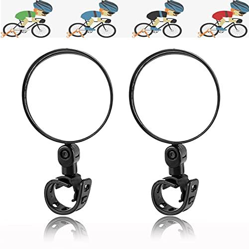 JINCHENG 2 Pezzi Specchio Bici, Specchio Bici, bicicletta multiuso Specchio,Specchietto Retrovisore da Manubrio Regolabile a 360° ,Adatto per MTB/Strada/Bici Pieghevole