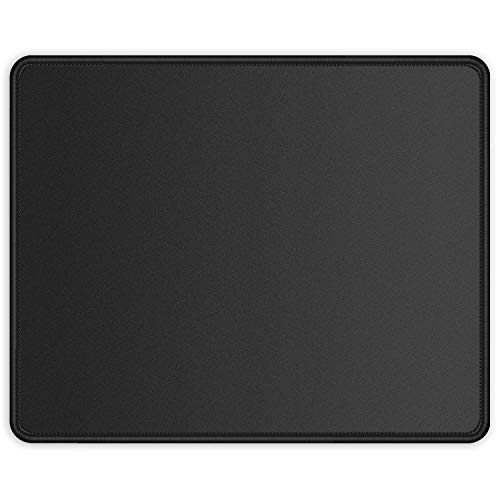 ITNRSIIET Mouse Pad with Stitched Edge, Premium-Textured Square Mouse Mat,Washable Mousepads with Lycra Cloth, Non-Slip Rubber Base Mousepad for Laptop, Computer, PC, 10.2×8.3×0.12 inches Black