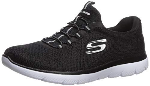 Skechers womens Summits Sneaker, Black/White, 8.5 Wide US