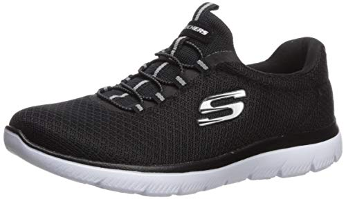 Skechers womens Summits Sneaker, Black/White, 8 Wide US