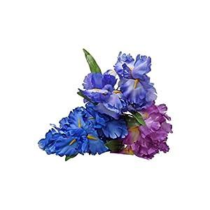 Silk Flower Arrangements Floral Garden 5-Stem Artificial Iris Flower Pieces - 12 Inch - 3 Count