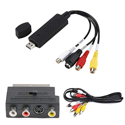 Capturadora VHS DVD Digital a PC USB2.0 Video Audio, [3 Set] Convertidor SCART a RCA S-Video + 1,5M 3 Cable Premium Phono RCA Macho a Macho Grabadora Transferir para Windows 10/8/ 7/ XP
