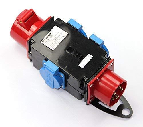 CEE Baustromverteiler Starkstrom Schuko Adapter Verteiler 3 x 230V 1 x 400 V 5-polig 16A IP44 Outdoor, Baustellen, Caravan, Wohnmobil, Wohnwagen, Festzelte solartronics SP-1605A