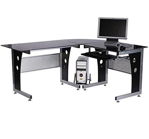 HOMCOM Schreibtisch Eckschreibtisch Computertisch PC Tisch Bürotisch mit schwarzem Sicherheitsglas 164 x 139 x 75cm